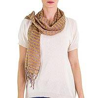 Cotton scarf, 'Subtle Earth Textiles' - Artisan Designed and Crafted Cotton Scarf