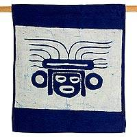 Batik cotton wall hanging, 'Mayan Warrior' - Blue Batik Cotton Maya Wall Hanging from El Salvador