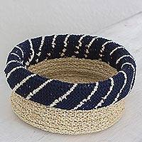 Agave fiber basket, 'Ixil Tradition in Midnight' - Hand Made Agave Fiber Basket in Midnight from Guatemala