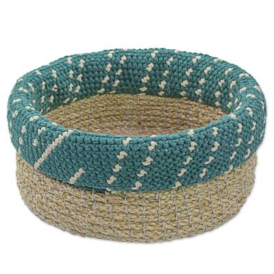Hand Made Agave Fiber Basket in Teal from Guatemala