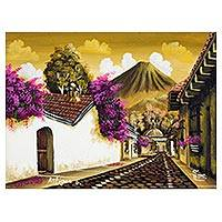 'Antigua Guatemala II' - Nostalgic Small Scale Oil Painting of Antigua in Sepia