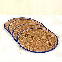 Pine needle placemats, 'Latin Mealtime in Blue' (set of 4) - Pine Needle Polyester Blue Placemats (Set of 4) Guatemala