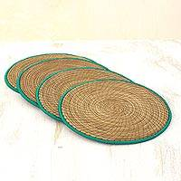 Pine needle placemats, 'Latin Mealtime in Green' (set of 4) - Pine Needle Polyester Green Placemats (Set of 4) Guatemala