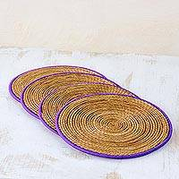 Pine needle placemats, 'Latin Mealtime in Purple' (set of 4) - Pine Needle Polyester Purple Placemats (Set of 4) Guatemala