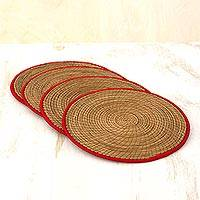 Pine needle placemats, 'Latin Mealtime in Red' (set of 4) - Pine Needle Polyester Red Placemats (Set of 4) Guatemala