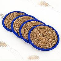 Pine needle coasters, 'Latin Toast in Blue' (set of 4) - Pine Needle Polyester Blue Coasters (Set of 4) Guatemala