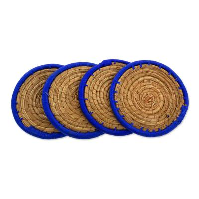 Pine Needle Polyester Blue Coasters (Set of 4) Guatemala