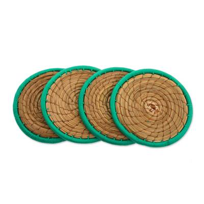 Pine Needle Polyester Green Coasters (Set of 4) Guatemala