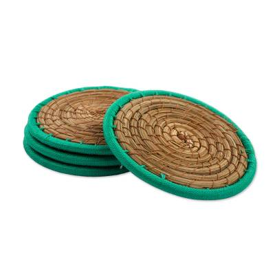 Pine needle coasters, 'Latin Toast in Green' (set of 4) - Pine Needle Polyester Green Coasters (Set of 4) Guatemala