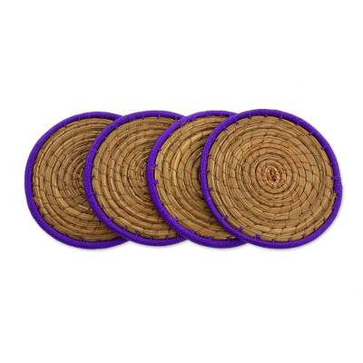 Pine Needle Polyester Purple Coasters (Set of 4) Guatemala