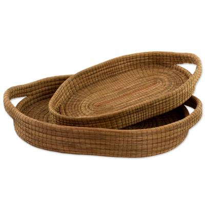 Hand Made Pine Needle Decorative Baskets (Pair) Guatemala