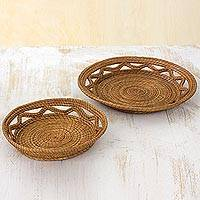 Pine needle catchalls, 'Natural Details' (pair) - Hand Made Pine Needle Catchalls (Pair) from Guatemala