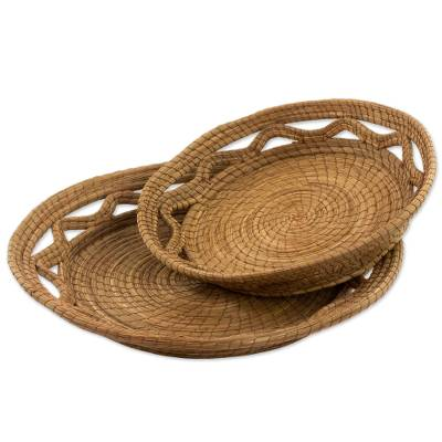 Hand Made Pine Needle Baskets (Pair) from Guatemala