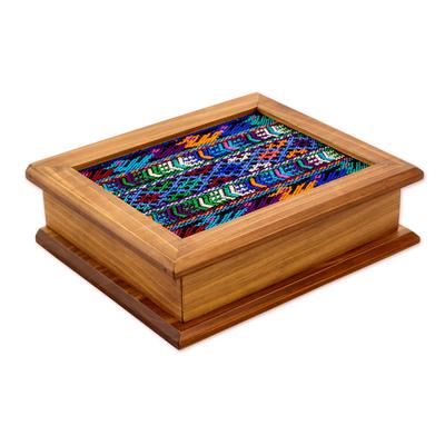 Guatemalan Pinewood Decorative Box with Woven Cotton