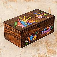 Wood jewelry box, 'Salvadoran Morning' - Colorful Hand Crafted Pine Wood Jewelry Box from El Salvador