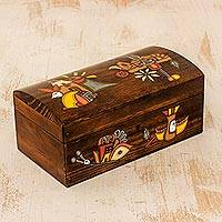 Wood jewelry box, 'Treasures of My Land' - Artisan Crafted Pine Wood Jewelry Box from El Salvador