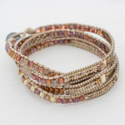 Glass beaded wrap bracelet, 'Autumn Sweetness' - Glass Beaded Wrap Bracelet in Beige from Guatemala