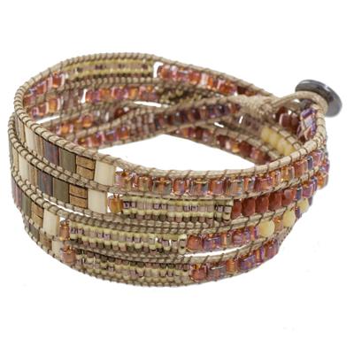 Glass Beaded Wrap Bracelet in Beige from Guatemala