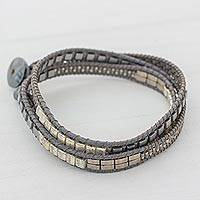 Glass beaded wrap bracelet, 'Silvery Moon' - Glass Beaded Wrap Bracelet in Grey from Guatemala