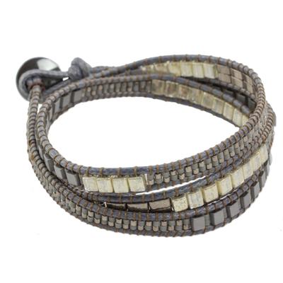 Glass Beaded Wrap Bracelet in Grey from Guatemala