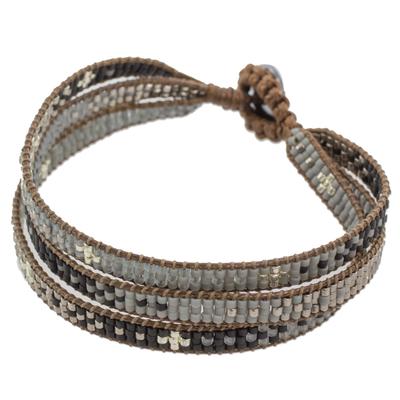 Glass Beaded Wristband Bracelet in Grey from Guatemala