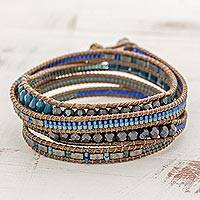 Glass beaded wrap bracelet, 'Sweet River' - Glass Beaded Wrap Bracelet in Blue from Guatemala