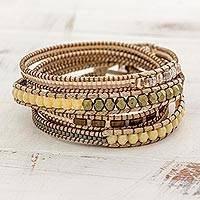 Glass beaded wrap bracelet, 'Soft Sands' - Hand Made Glass Bead Wrap Bracelet Beige from Guatemala