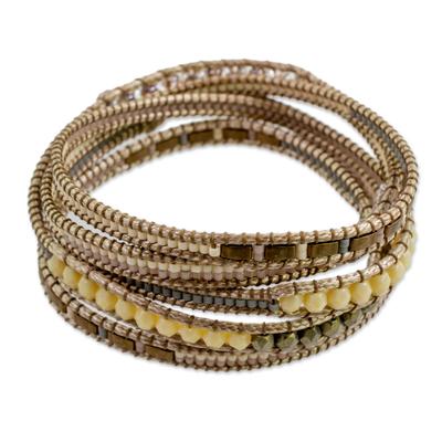 Hand Made Glass Bead Wrap Bracelet Beige from Guatemala