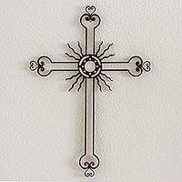 Iron wall cross, 'Light of the Path' - Openwork Sun Cross Antiqued Iron from Guatemala