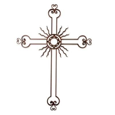 Openwork Sun Cross Antiqued Iron from Guatemala