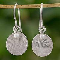 Swarovski crystal pearl dangle earrings, 'Fingerprints' - Fine Silver and Swarovski Crystal Pearl Dangle Earrings