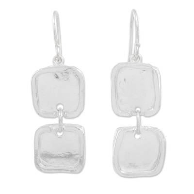 Fine Silver Square Shaped Dangle Earrings from Guatemala