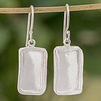 Fine silver dangle earrings, 'Shimmering Mirrors' - Fine Silver Rectangular Dangle Earrings from Guatemala