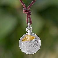 Fine silver and citrine pendant necklace, 'Fingerprints in Yellow' - Fine Silver and Citrine Pendant Necklace from Guatemala