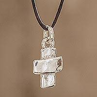 Fine silver pendant necklace, 'Faithful Dependance' - Guatemalan Fine Silver and Leather Cross Pendant Necklace