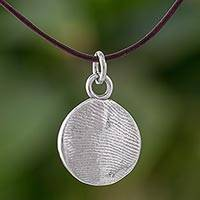 Fine silver pendant necklace, 'Fingerprints' - Circular Fine Silver Pendant Necklace from Guatemala