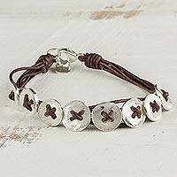 Fine silver wristband bracelet, 'Friendship Buttons in Brown' - Fine Silver and Leather Wristband Bracelet from Guatemala
