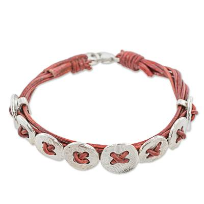 Leather Fine Silver Wristband Bracelet 8 Buttons Guatemala