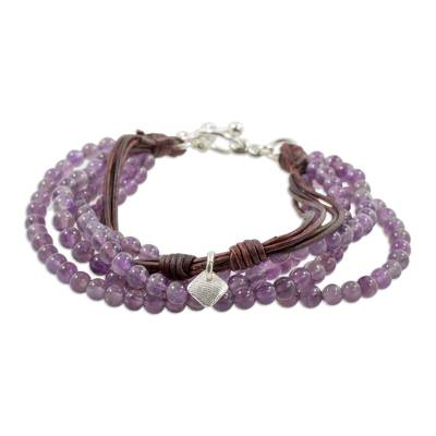 Amethyst Leather and Fine Silver Beaded Wristband Bracelet