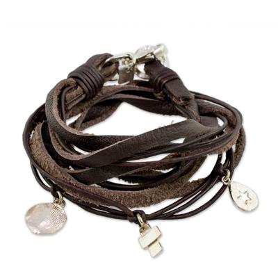 Leather Fine Silver Wrap Charm Bracelet from Guatemala