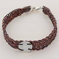 Silver and leather wristband bracelet, 'Mother Claudia in Brown' - 999 Silver Brown Braided Wristband Bracelet from Guatemala