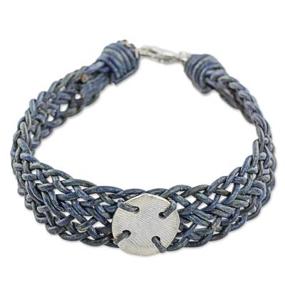 999 Silver Blue Braided Wristband Bracelet from Guatemala