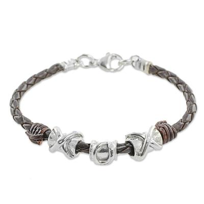 999 Silver Brown Pendant Wristband Bracelet from Guatemala