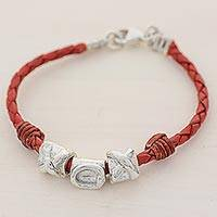 Silver and leather wristband bracelet, 'Silver Love in Red' - 999 Silver Red Leather Pendant Wristband Bracelet Guatemala