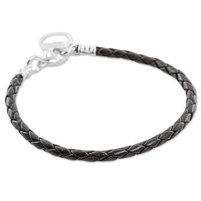Fine Silver Brown Leather Charm Wristband Bracelet Guatemala