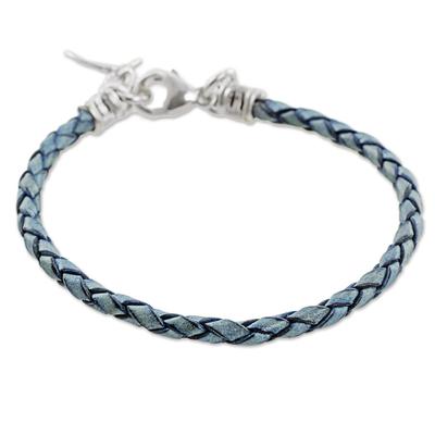 999 Silver Blue Leather Charm Wristband Bracelet Guatemala