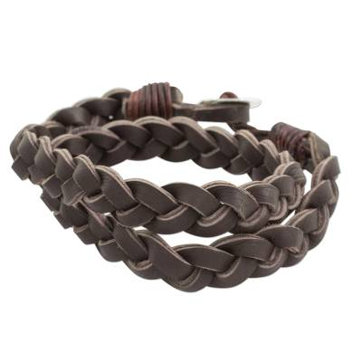 Fine Silver and Leather Guatemalan Braided Wrap Bracelet
