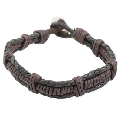 Fine Silver and Leather Braided Wristband Bracelet in Brown