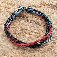 Leather and fine silver braided wristband bracelet,
