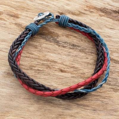 Leather and fine silver braided wristband bracelet, 'Walks of Life' - Multicolored Guatemalan Leather Braided Wristband Bracelet